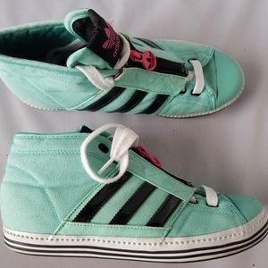 Adidas Mint Green High Top Sneakers Zipper